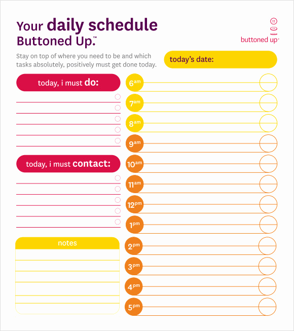 Daily Schedule Template Pdf Awesome Blank Schedule Template 6 Download Free Documents In Pdf