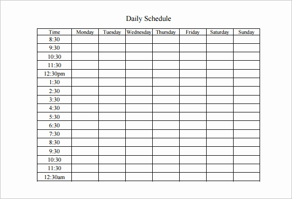 Daily Schedule Template Pdf Lovely Weekly Work Schedule Template 8 Free Word Excel Pdf