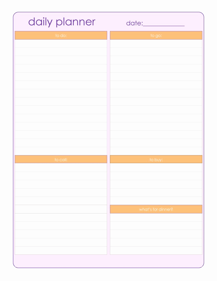 Daily Schedule Template Pdf Luxury 40 Printable Daily Planner Templates Free Template Lab
