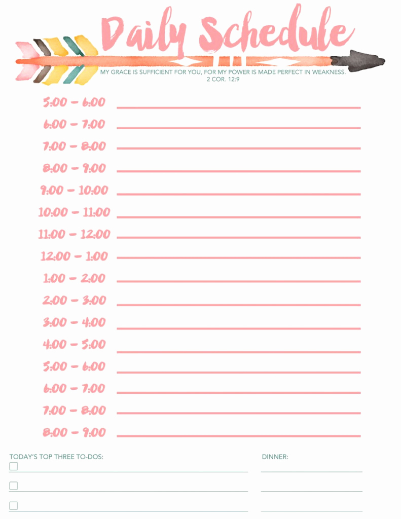 Daily Schedule Template Pdf Unique 7 Daily Schedule Templates Excel Pdf formats