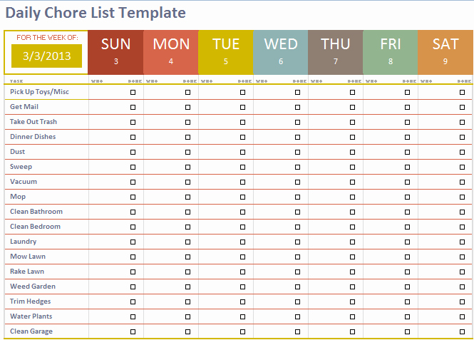 Daily Task List Template Inspirational Daily Chore List Template Microsoft Fice Templates