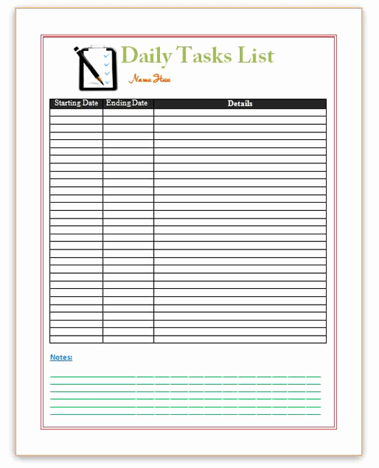 Daily Task List Template New Pin Word Templates Daily Planner Templates