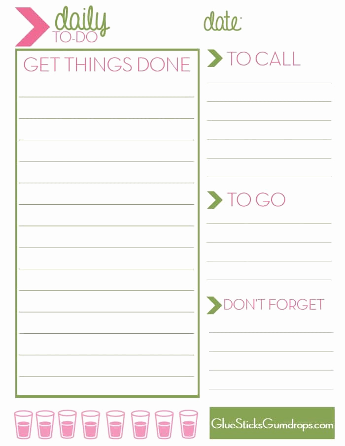 Daily to Do List Templates Elegant Free Printable Daily to Do List Glue Sticks and Gumdrops