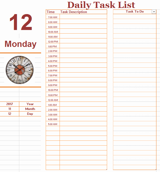Daily todo List Template Awesome Daily to Do Task List Template Ms Fice Documents