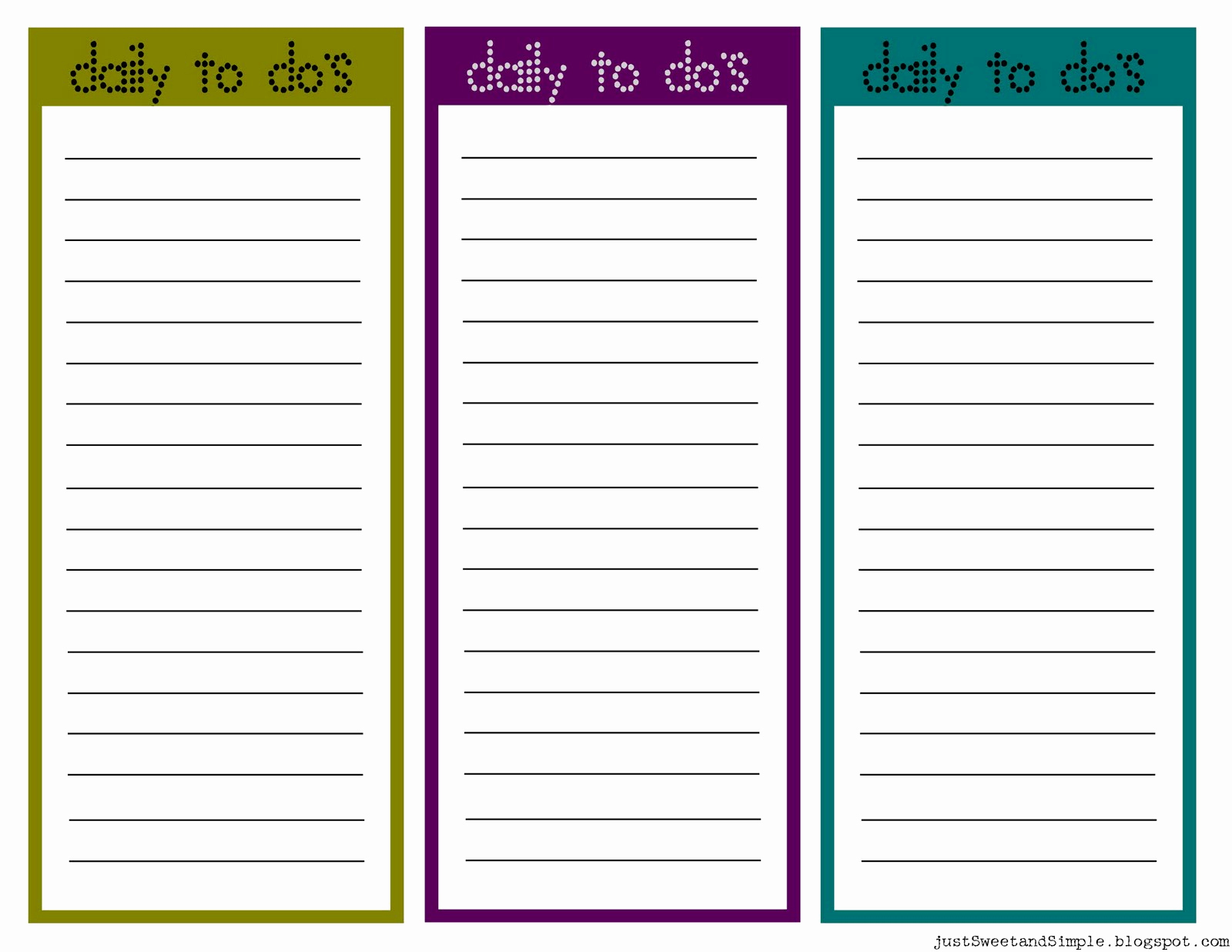 Daily todo List Template Awesome Just Sweet and Simple Printable Little Daily to Do List S