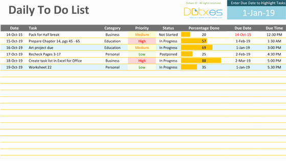 Daily todo List Template Luxury Daily to Do List Template Dotxes