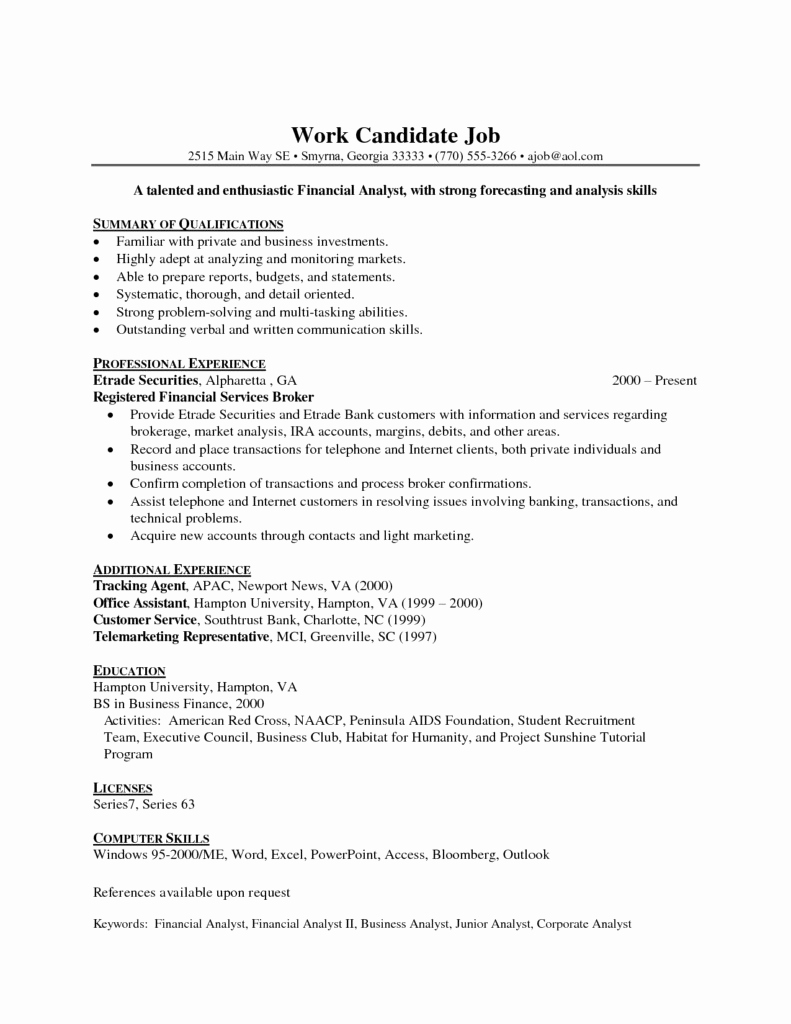 Data Analyst Resume Entry Level Awesome 29 Last Entry Level Financial Analyst Resume Dt E
