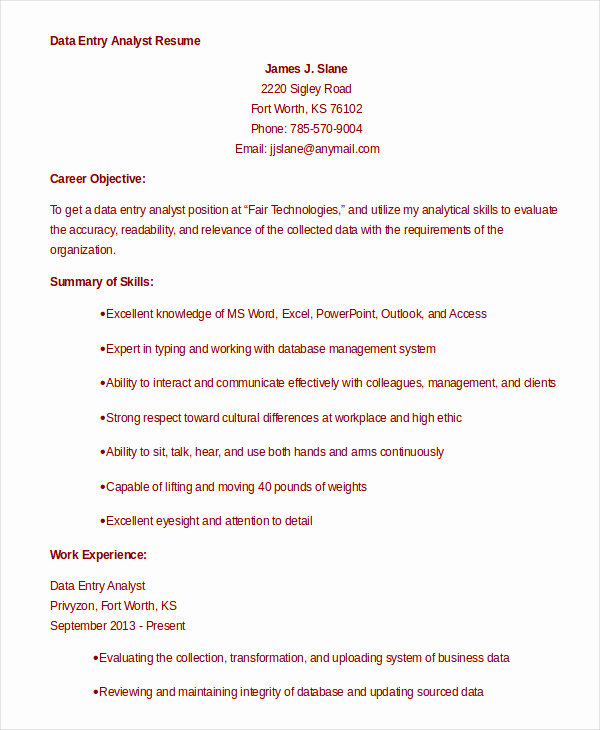 Data Analyst Resume Entry Level Awesome 9 Data Analyst Resume Examples Pdf Doc
