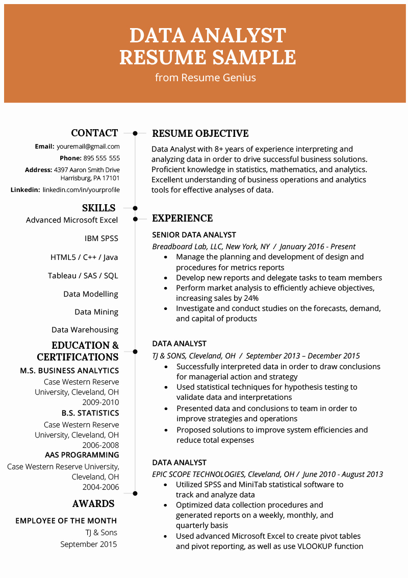 Data Analyst Resume Entry Level Beautiful Data Analyst Resume Example & Writing Guide