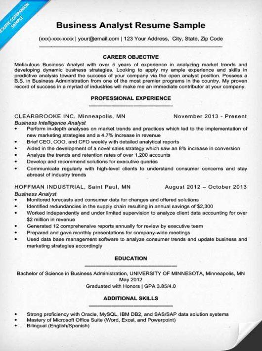 Data Analyst Resume Entry Level Fresh Business Analyst Resume Sample & Writing Tips