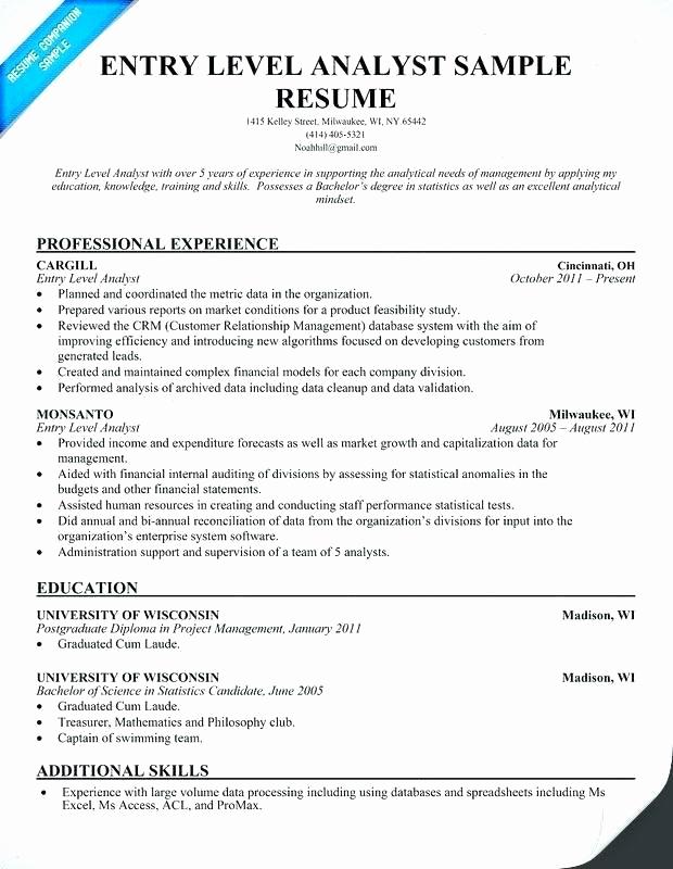 Data Analyst Resume Entry Level Fresh Entry Level Data Analyst Resume 11