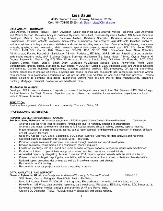 Data Analyst Resume Entry Level Fresh Resume Data Analyst Lisa Baum