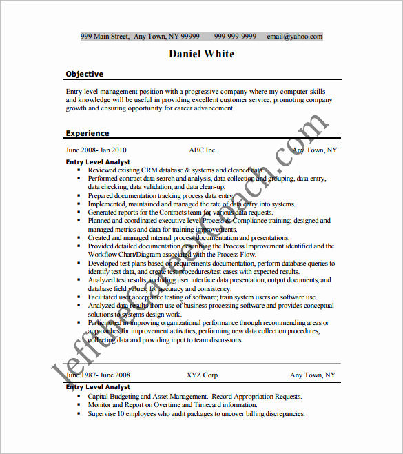 Data Analyst Resume Entry Level Unique Business Analyst Resume Template – 11 Free Word Excel