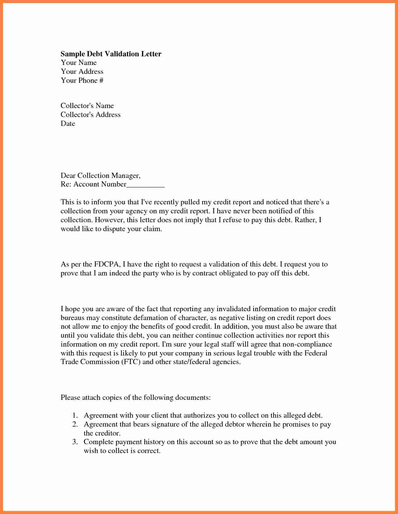 Debt Validation Letter Template Beautiful 5 I Have A Collection On My Credit Report