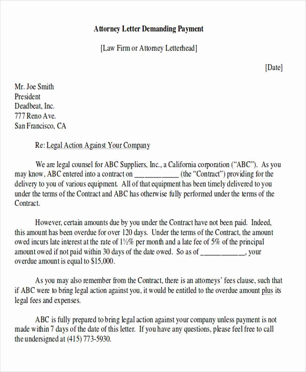 Demand Letter for Payment Elegant Demand Letter Examples