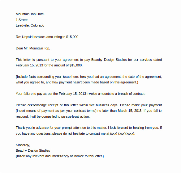 Demand Letter for Payment Inspirational Pensation Letter for Damages