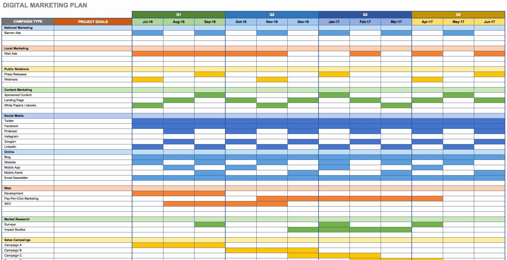 Digital Marketing Plan Template Awesome Free Marketing Plan Templates for Excel Smartsheet
