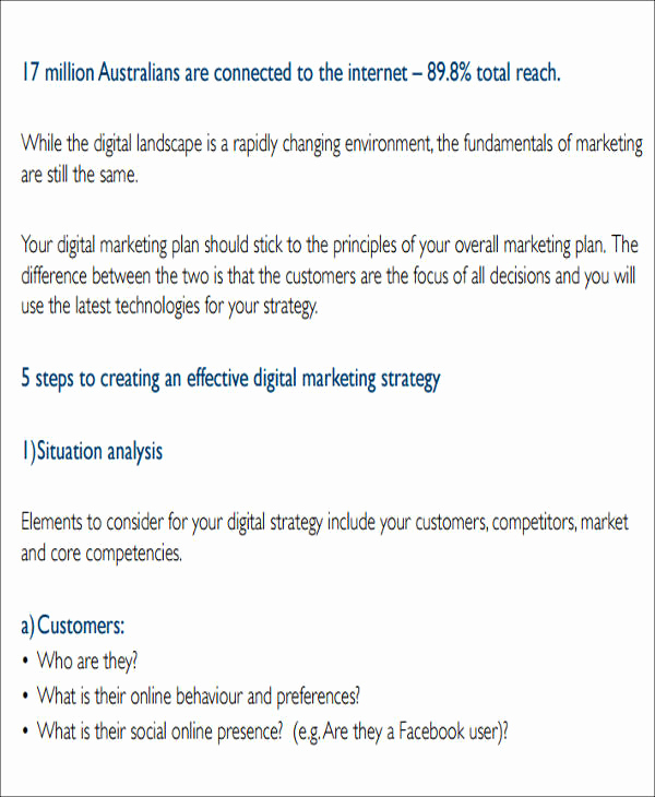Digital Marketing Plan Template Inspirational 12 Sample Digital Marketing Plan