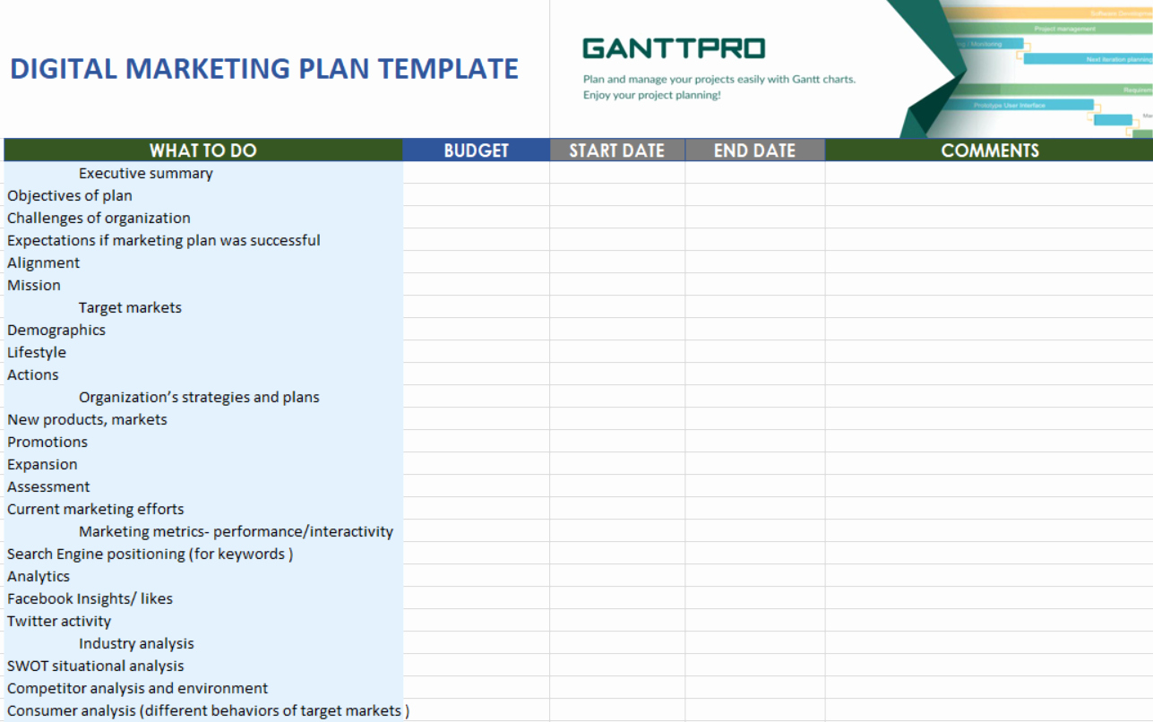 Digital Marketing Plan Template New Digital Marketing Plan Template Free Download
