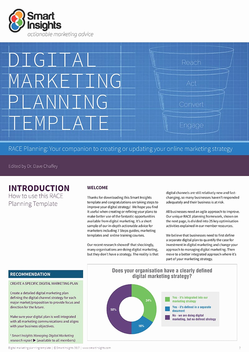Digital Marketing Plan Template Unique Free Digital Marketing Plan Template Smart Insights