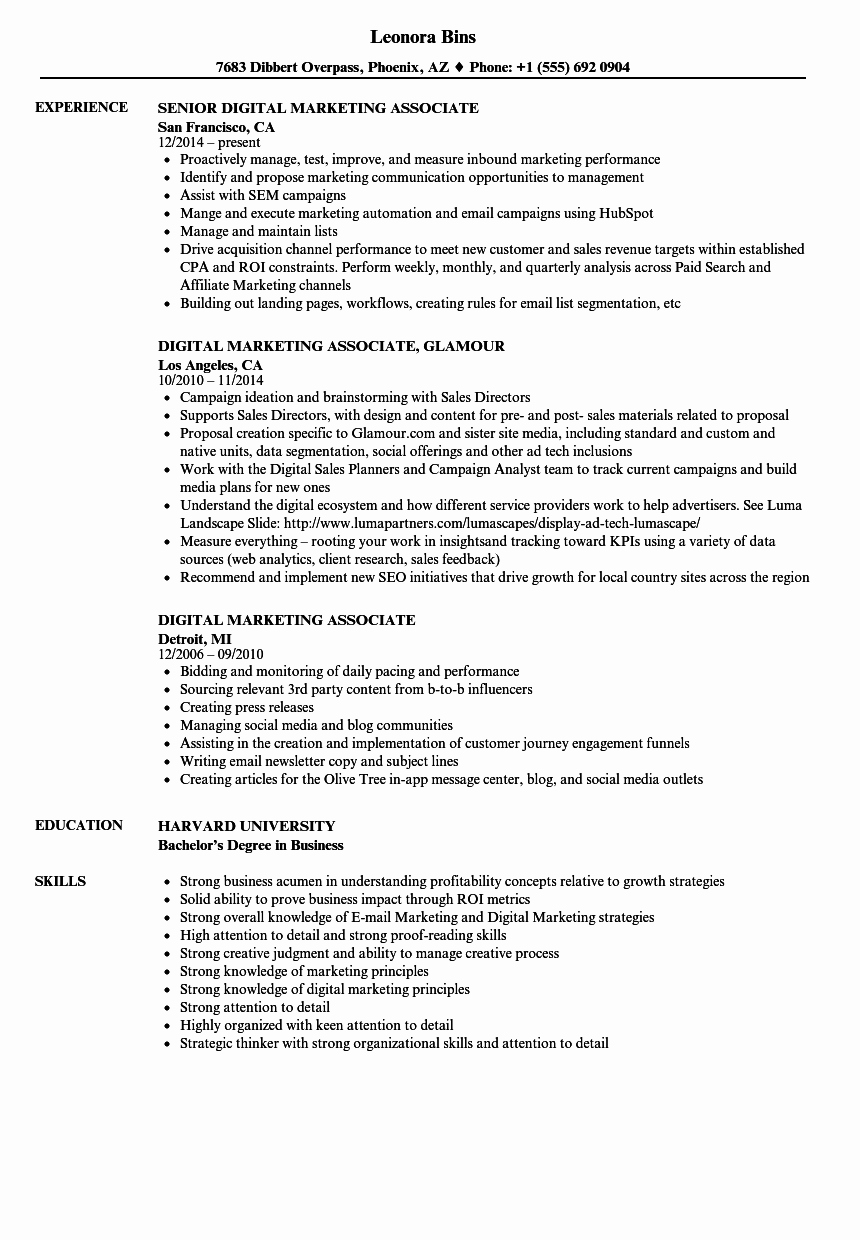 Digital Marketing Resume Sample Awesome Digital Marketing associate Resume Samples