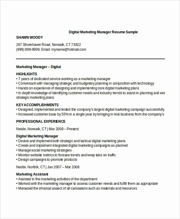 Digital Marketing Resume Sample New 52 Professional Manager Resumes Pdf Doc