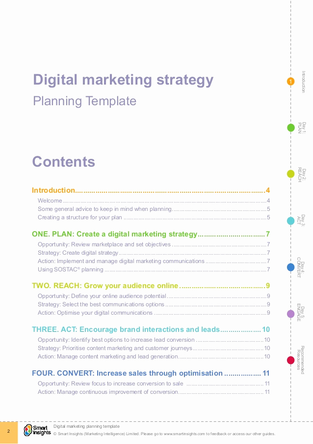 Digital Marketing Strategy Template Awesome Digital Marketing Plan Template Smart Insights