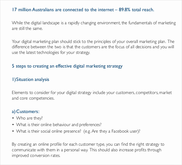 Digital Marketing Strategy Template Elegant Digital Marketing Strategy Template 12 Word Excel Pdf