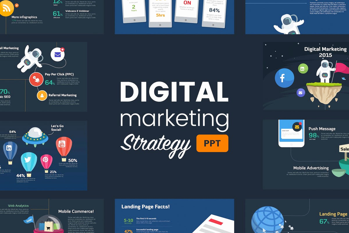 Digital Marketing Strategy Template Unique Digital Marketing Strategy Powerpoint Template by