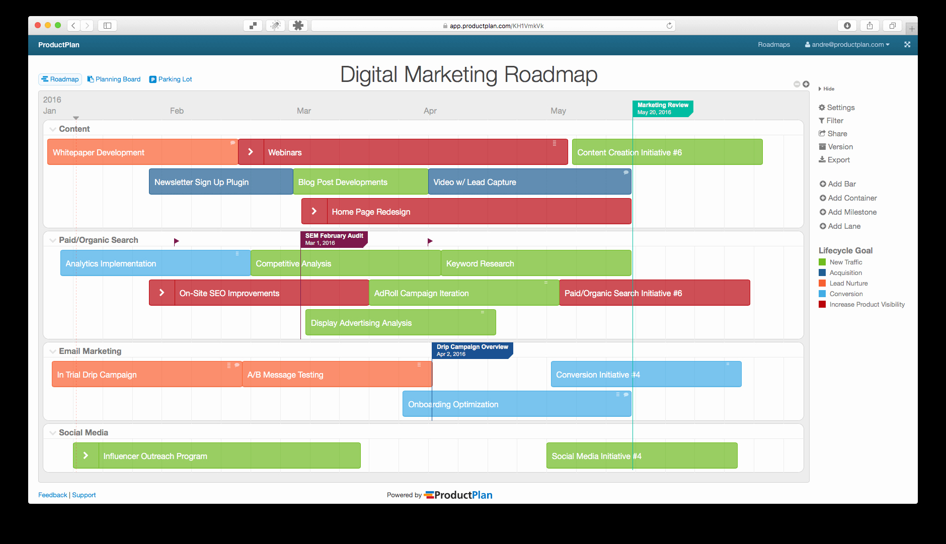Digital Marketing Strategy Template Unique Three Example Marketing Roadmaps