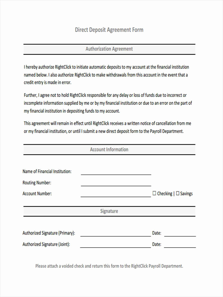 Direct Deposit form Template Awesome 32 Deposit form Templates