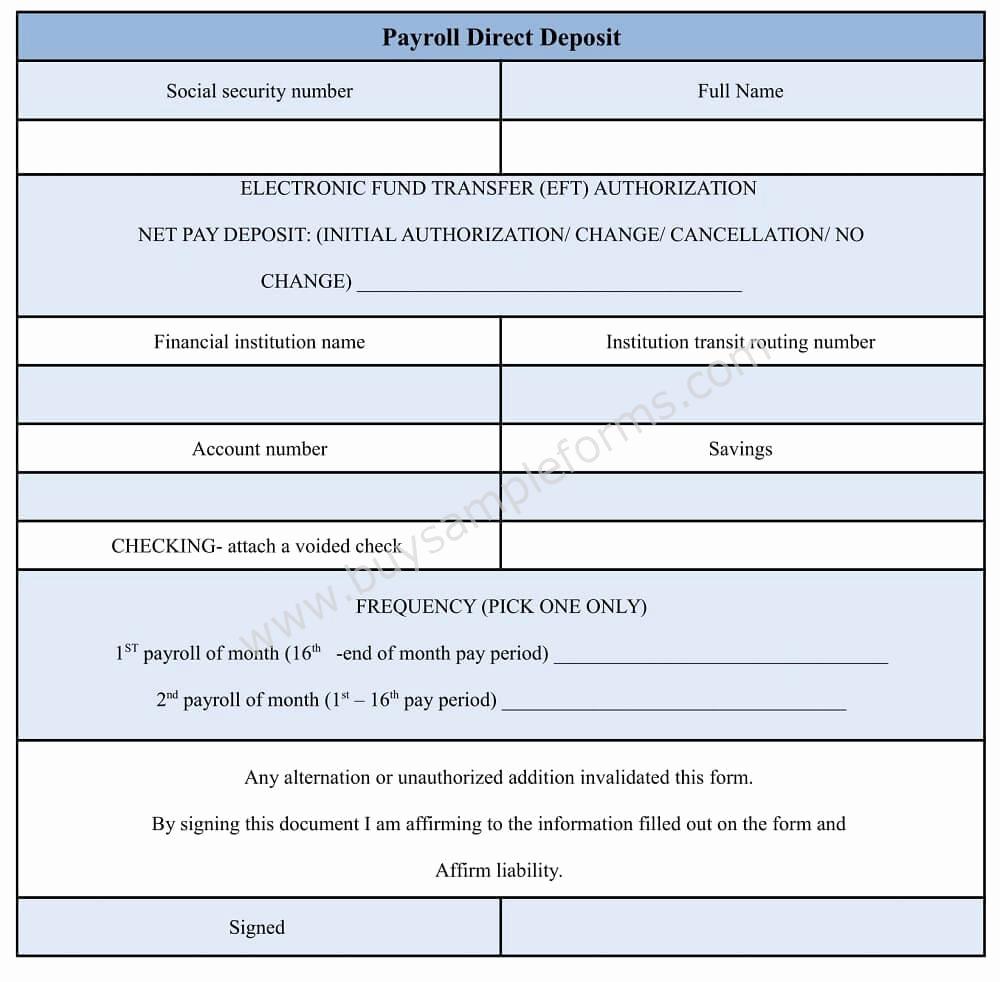 Direct Deposit form Template Beautiful Payroll Direct Deposit form