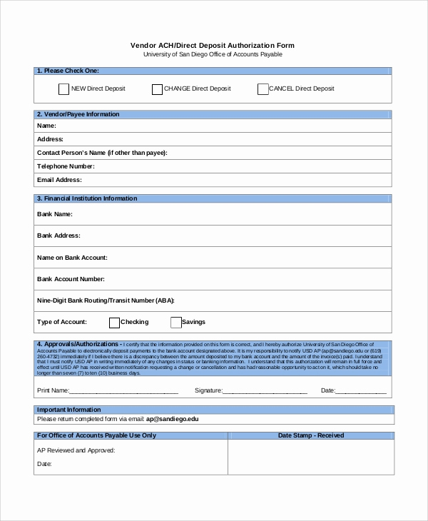 Direct Deposit form Template Beautiful Sample Direct Deposit Authorization form 10 Examples In