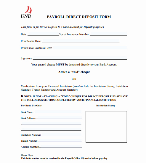 Direct Deposit form Template Fresh 4 Direct Deposit form Templates formats Examples In