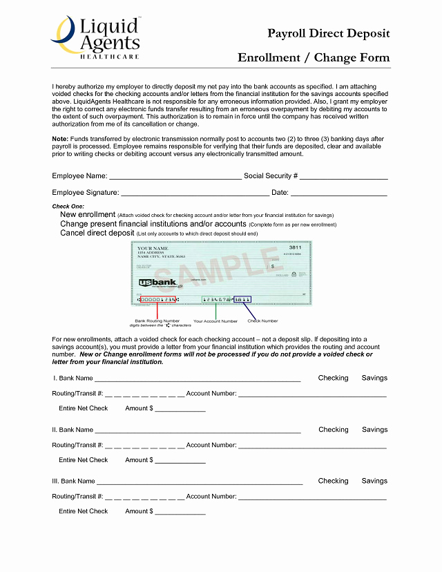 Direct Deposit form Template Inspirational Ach Deposit Authorization form Template Templates