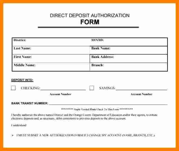 Direct Deposit form Template Lovely 9 Payroll Direct Deposit Authorization form
