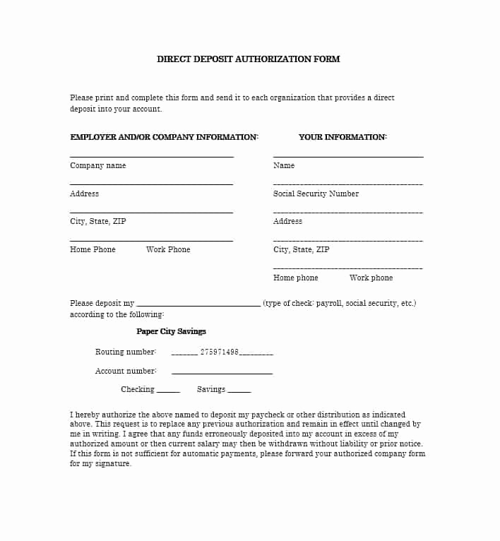 Direct Deposit form Template New 47 Direct Deposit Authorization form Templates Template