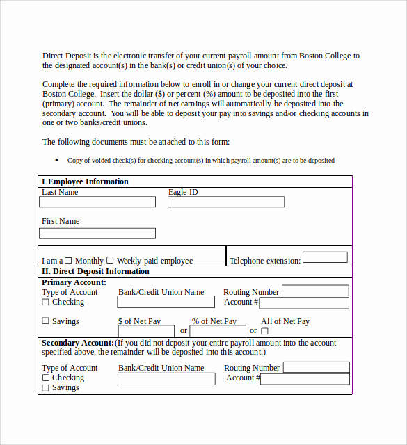 Direct Deposit form Template New Sample Direct Deposit Authorization form 7 Download