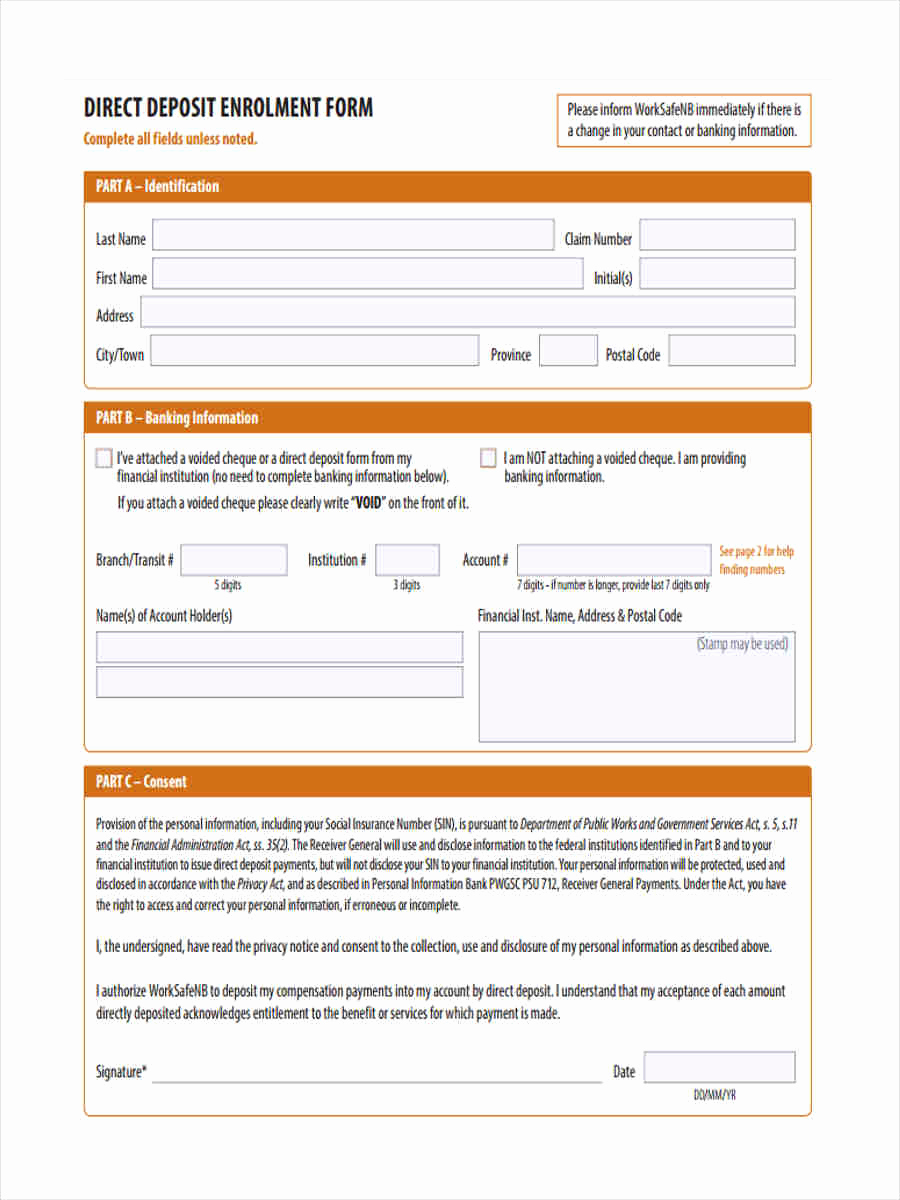 deposit forms template