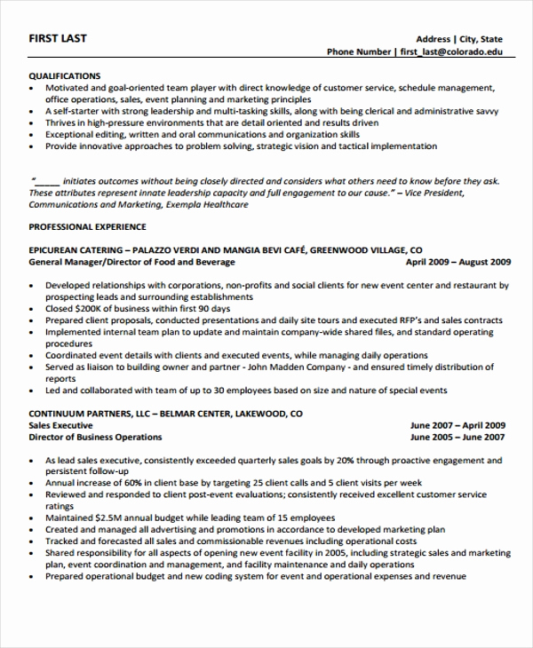 Director Of Operations Resume Best Of 8 Director Operations Resume Templates Pdf Doc