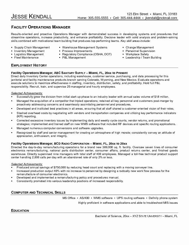 Director Of Operations Resume Elegant Director Operations Resume