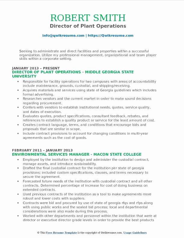Director Of Operations Resume Fresh Director Of Plant Operations Resume Samples