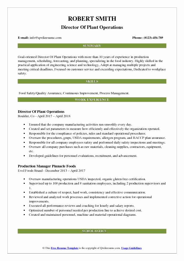 Director Of Operations Resume Inspirational Director Of Plant Operations Resume Samples