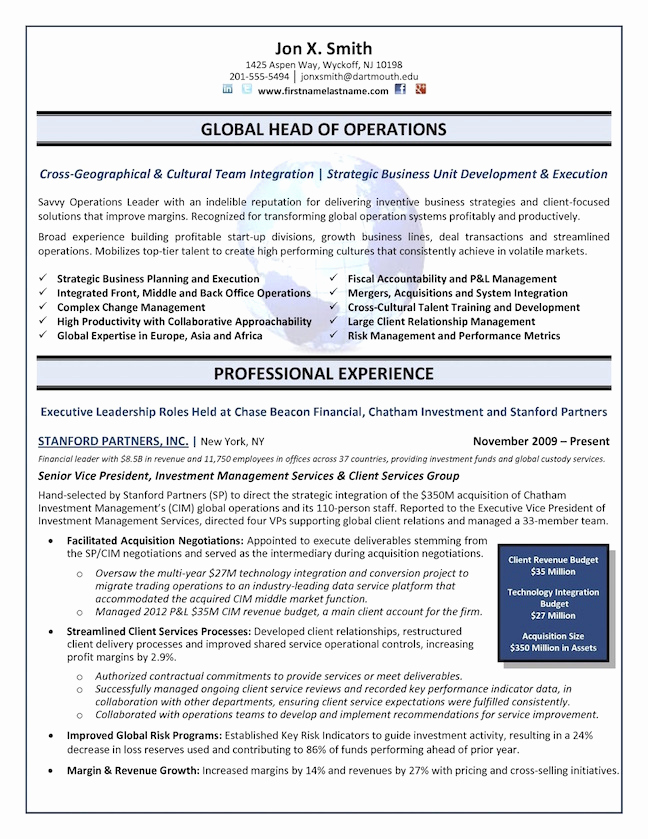 Director Of Operations Resume Inspirational the top 4 Executive Resume Examples Written by A