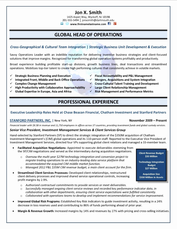 Director Of Operations Resume New Executive Resume Samples