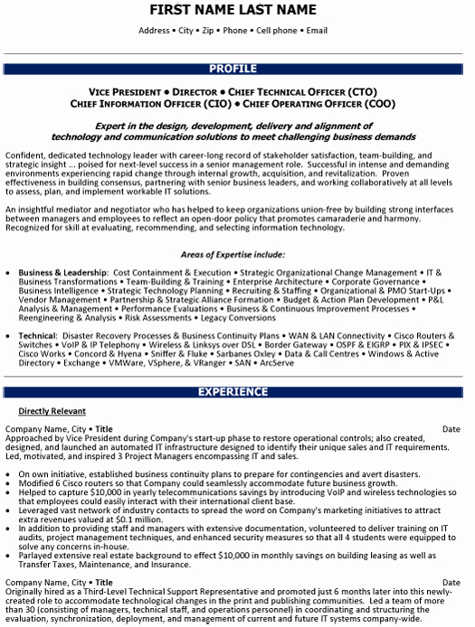 Director Of Operations Resume Unique Chief Operations Ficer Resume Sample & Template