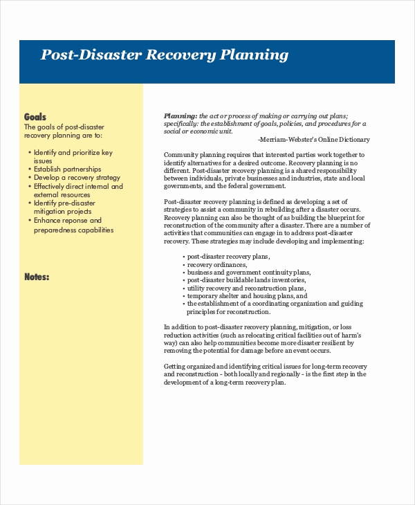 Disaster Recovery Plan Example Awesome 13 Disaster Recovery Plan Templates Free Sample