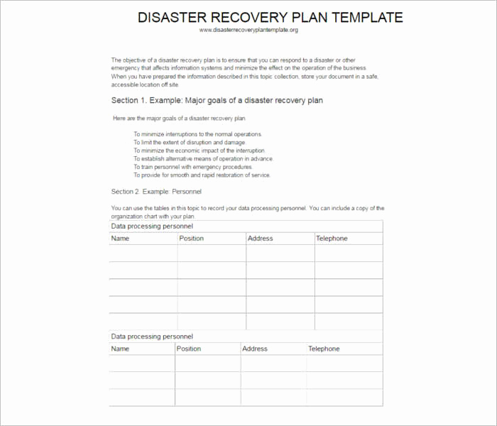 Disaster Recovery Plan Example Beautiful 7 Disaster Recovery Plan Templates Free Pdf Doc formats