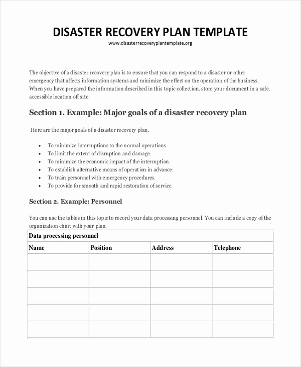 Disaster Recovery Plan Example Best Of Plan Template 18 Free Word Pdf Psd Indesign format