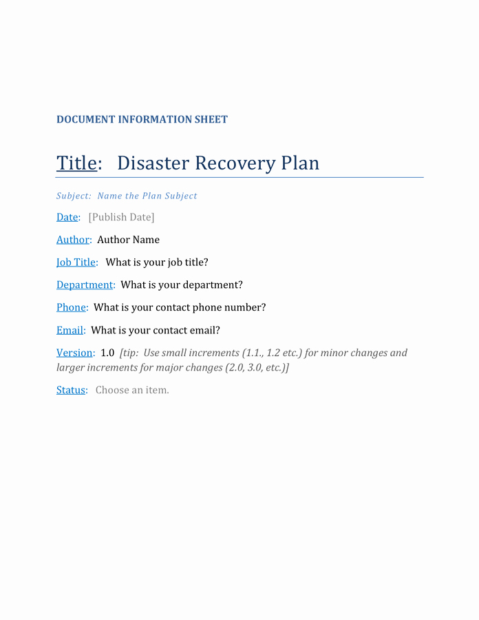Disaster Recovery Plan Example Pdf Beautiful Disaster Recovery Plan Template In Word and Pdf formats
